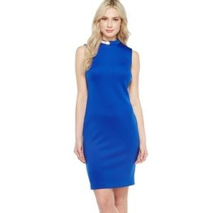 Calvin Klein blue neck hardware sheath midi dress